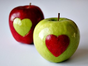 Valentine's Day Apple Hearts