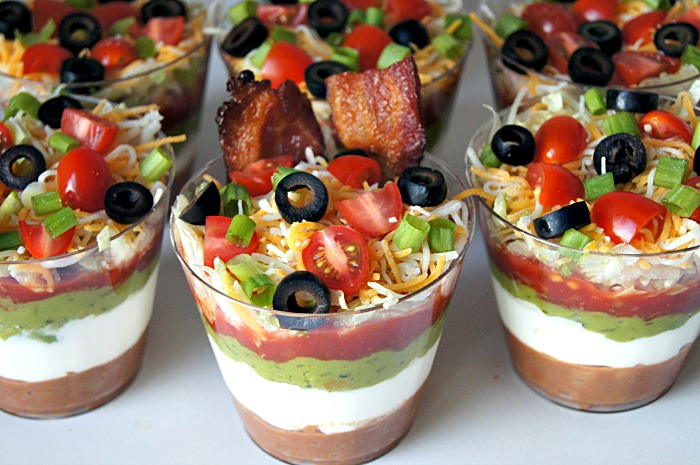 Seven-Layer Dip Cups With Bacon Chips