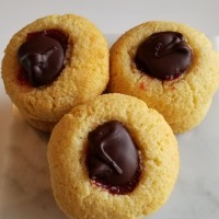 Chocolate-Covered Strawberry Thumbprint Cookies — Low Carb, Gluten Free